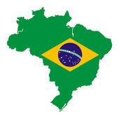 Brazil map with national flag — Stockvector