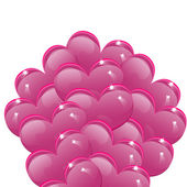 Balloons in the shape of pink hearts — 图库矢量图片