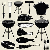 Set icons barbecue grill — Stok Vektör