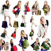Collage girl on shopping isolated white background — Stock Photo