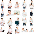 Collage of a young man with office objects - Stock Photo