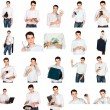 Royalty-Free Stock Photo: Collage of a young man with office objects