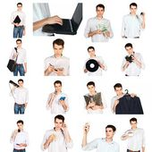 Collage of a young man with office objects — Stock Photo