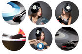 Collage girl with vinil disc on black background — Stock Photo