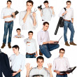 Collage of young man with office objects isolated — Stockfoto