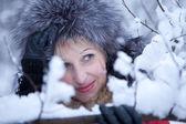 Portrait fun girl in winter forest — Foto Stock