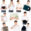 Collage young man in white shirt with various objects isolated — Stockfoto