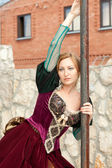 Girl in medieval dress posing — Stock Photo