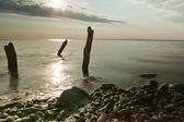 穏やかなビーチで早朝 — ストック写真