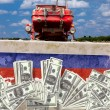 Collage Russian tractor cleans the U.S. dollar Russian land — Stock Photo #45710605