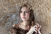 Girl with a natural bush — Stock Photo