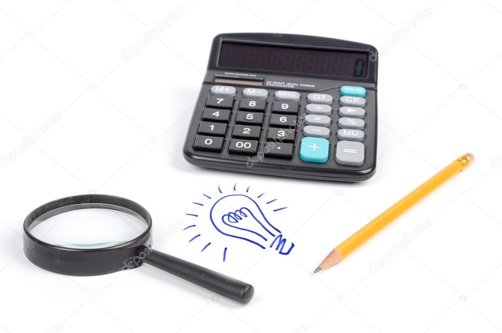Light bulb and calculator with magnifier ,pencil — Stock Photo #12523258