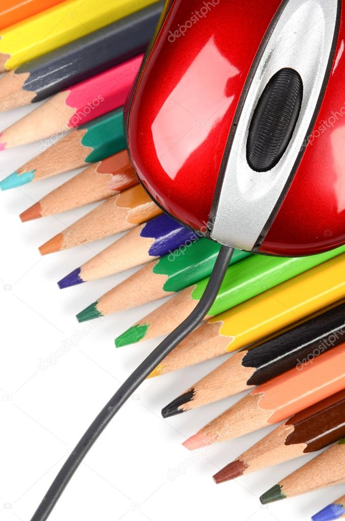 Computer mouse and color pencils — Stock Photo #12527493