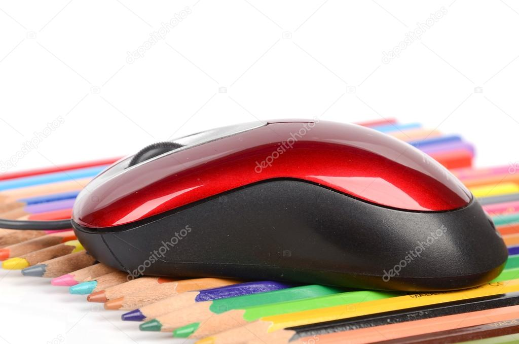 Computer mouse and color pencils — Stock Photo #12527994