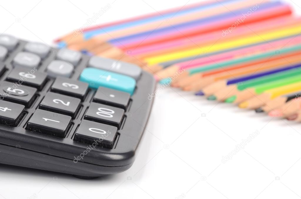 Calculator and color pencil — Stock Photo #12528215