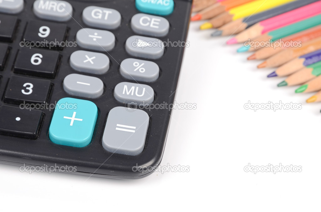 Calculator and color pencil — Stock Photo #12528436
