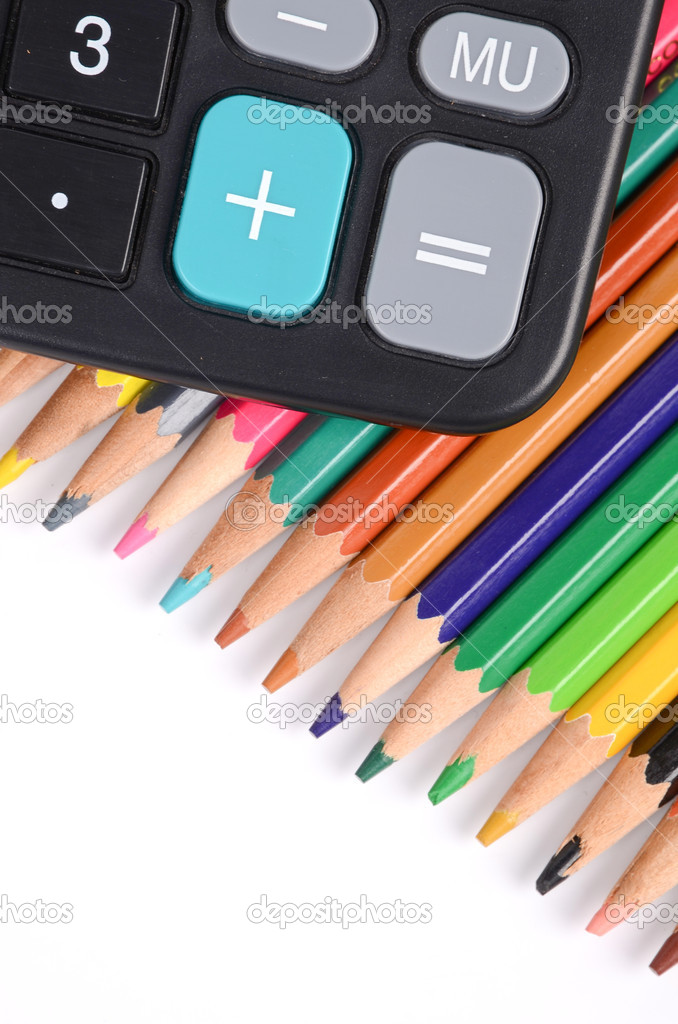 Calculator and color pencil — Stock Photo #12537340