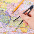 Plotting on a map — Stock Photo