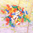 Push pin on map — Stock Photo