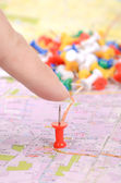 Push pin on map — Stock Photo