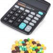 Medicine and calculator — Stock Photo