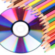 Color pencil and DVD — Stock Photo