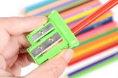 Color pencil and sharpener — Stock Photo