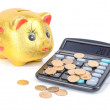 Piggy bank and calculator — Stock Photo