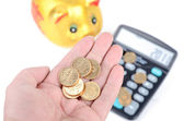 Piggy bank and calculator — Foto de Stock