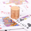 Poker and coin - Stock Photo