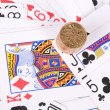 Poker and coin — 图库照片 #13150410