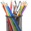 Color pencils and sharpener — Stock Photo #13152589