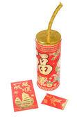 Fogos de artifício chineses e bolso vermelho — Foto Stock