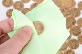 Cleaning coins — Foto de Stock