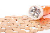 Flashlight and coins — Foto Stock