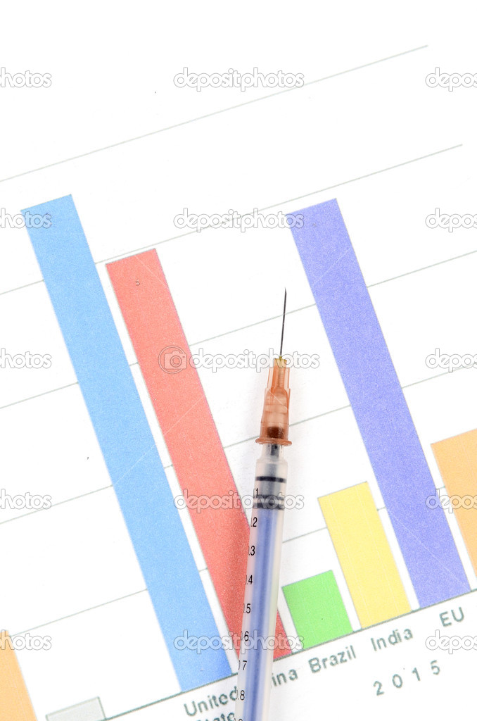 Syringe and financial — Stock Photo #13243244