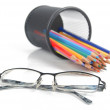 Brush pot and glasses — Stock Photo