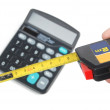 Calculator and ruler — Stock Photo