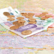 Stock Photo: Map and money