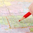 Map and pencil — Stock Photo