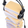 Documents and headphone - Stock Photo
