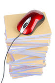 Documents and computer mouse — Stock Photo