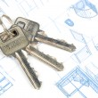 Key and blueprint — Stock Photo