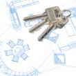 Key and blueprint — Stock Photo #13501929