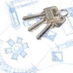 Key and blueprint — Stock Photo