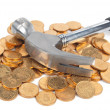 Stock Photo: Hammer and coins
