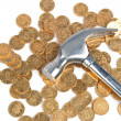 Hammer and coins - Stock Photo