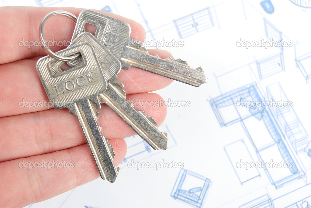 Key and blueprint — Stock Photo #13502085