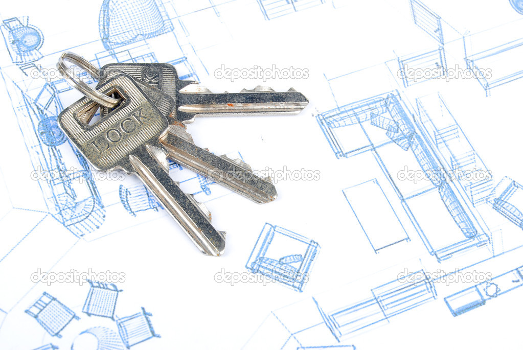 Key and blueprint  Stock Photo #13502128