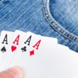 Poker and jeans — Stock Photo